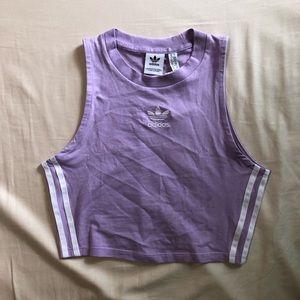 Adidas high neck lilac striped crop top
